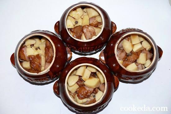 Мясо картофелем горшочках фото-06