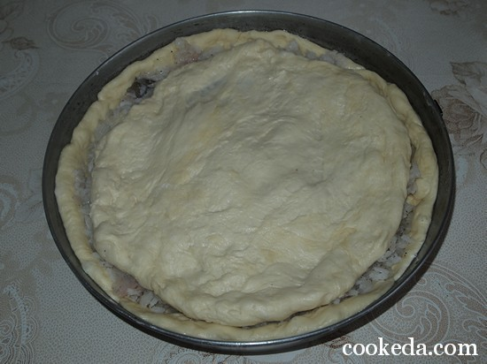 Пирог рыбой рисом фото-08