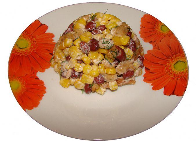 Салат из консервированной фасоли с кукурузой - пошаговый рецепт