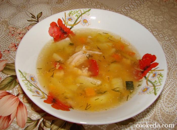 Тыквенный суп на курином бульоне