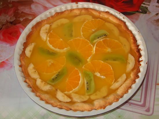 Песочный торт с желе и фруктами-31
