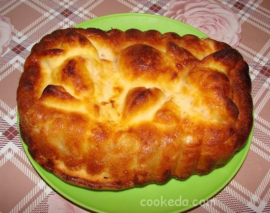 Творожно-яблочный пирог-11
