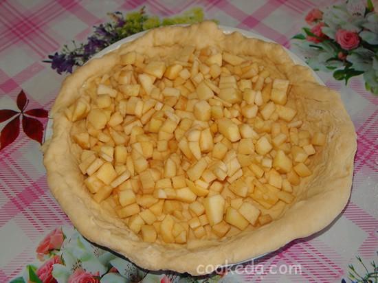 Дрожжевой пирог с яблоками-20