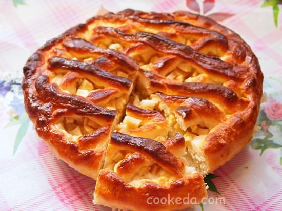 Дрожжевой пирог с яблоками-31