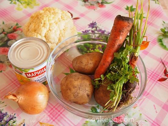 Суп в мультиварке из цветной капусты и кукурузы-01