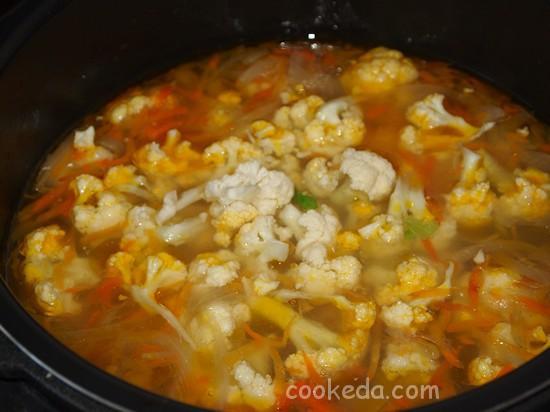 Суп в мультиварке из цветной капусты и кукурузы-14