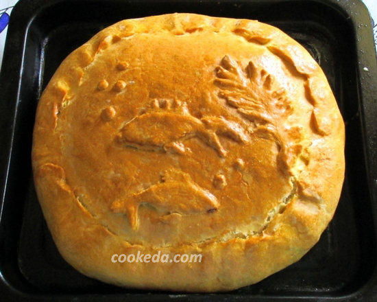 Пирог на кефире с рыбой и рисом-01
