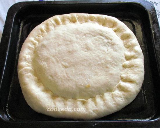 Пирог на кефире с рыбой и рисом-18