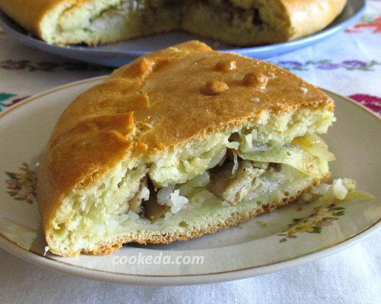 Пирог на кефире с рыбой и рисом-20