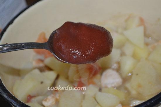 Тушеный картофель с куриным мясом-10