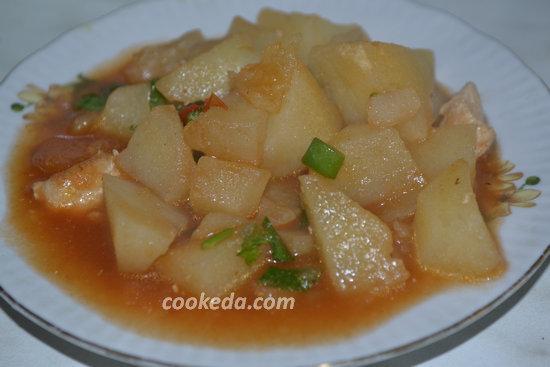 Тушеный картофель с куриным мясом-14