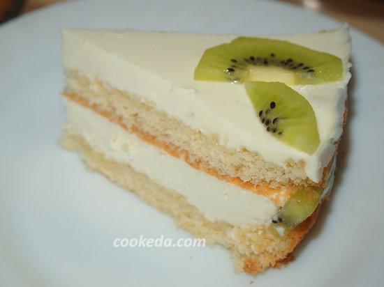 бисквитный сливочно-йогуртовый торт-19