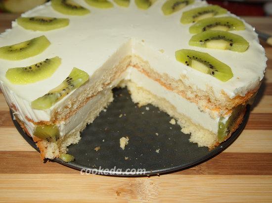бисквитный сливочно-йогуртовый торт-20