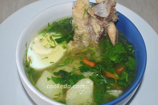 Зеленый суп с яйцом и шпинатом-01