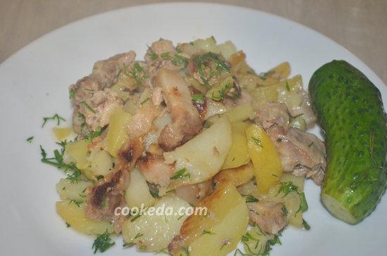 Жареная картошка с грудинкой-11