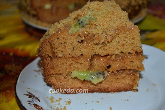 Бисквитный торт со сгущенкой-22