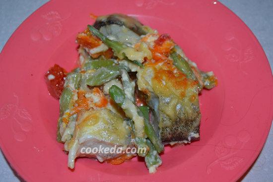 Рыба с овощами в духовке- готовое блюдо