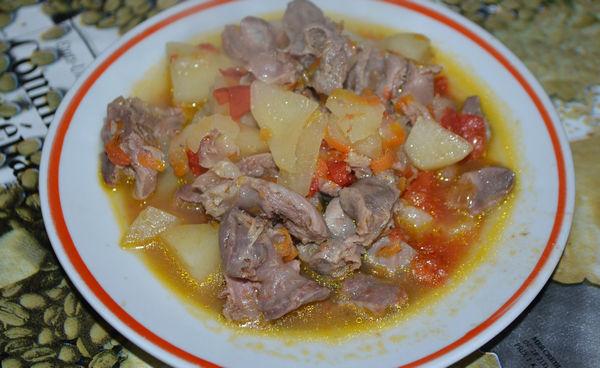 желудки куриные с картошкой рецепт тушеные в мультиварке
