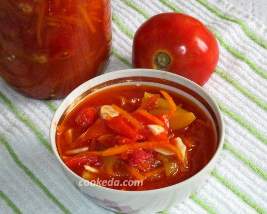 лечо из болгарского перца с помидорами на зиму-25
