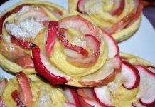 Розочки из теста с яблоками, рецепт