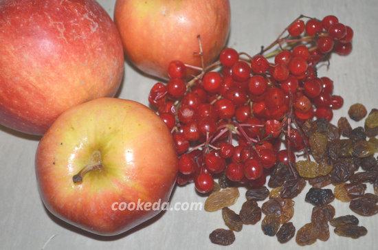 пирог с яблоками и калиной-02