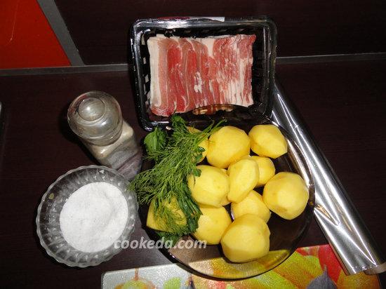 Картошка с беконом запеченная в фольге