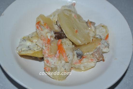 Картофельная запеканка с мясом и грибами в духовке