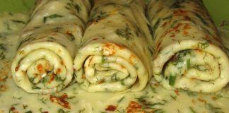 Блины с сыром и зеленью - пошаговый рецепт