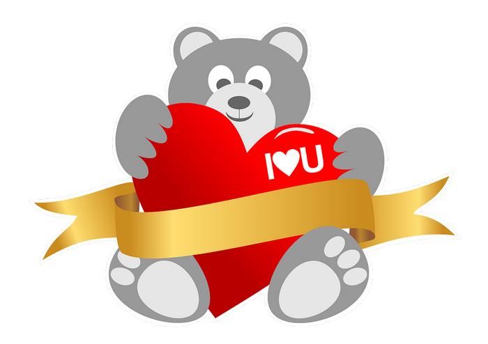 Валентинка - мишка с сердцем