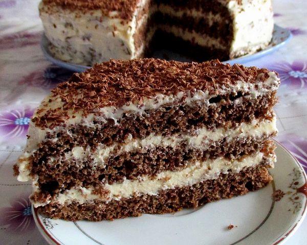 Бисквитный шоколадный торт с заварным кремом на воде - пошаговый рецепт