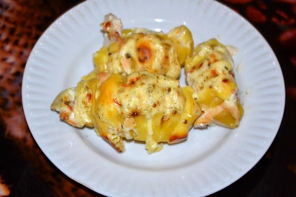 картошка гармошка с мясом в духовке рецепт