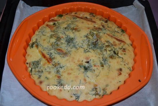 Заливной пирог с яйцом и грибами