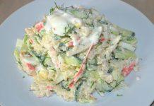 Крабовый салат с огурцом - пошаговый рецепт