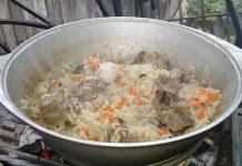 плов из свинины в казане - пошаговый рецепт