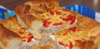 мясной пирог из картофельного дрожжевого теста