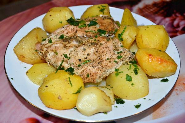 куриная грудка с картошкой в рукаве - пошаговый рецепт