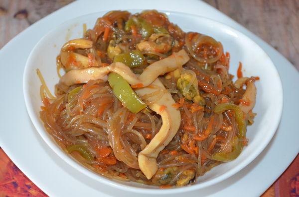 фунчоза с морепродуктами - пошаговый рецепт