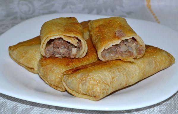 вкусные блины с мясом рецепт с фото