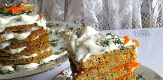 торт из куриной печени с овощной прослойкой - пошаговый рецепт с фото