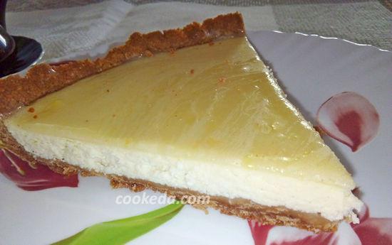 Чизкейк из творога и печенья с лимонным кремом