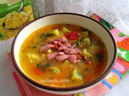 суп гороховый с колбасой