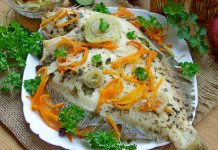 Камбала с овощами в духовке - рецепт с фото
