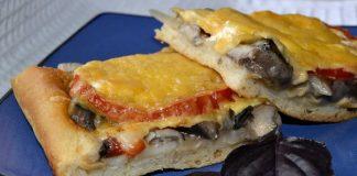 Пицца с грибами на дрожжевом тесте - рецепт