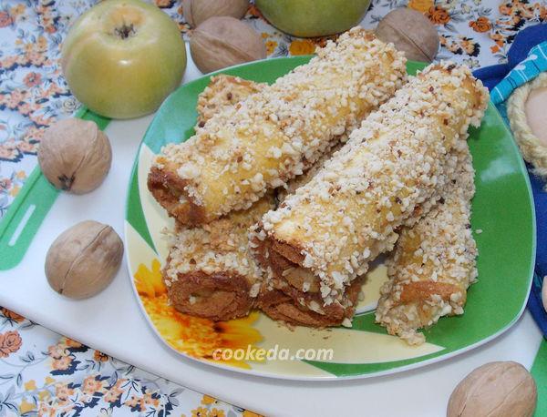 Рулетики с яблоками и творогом - рецепт