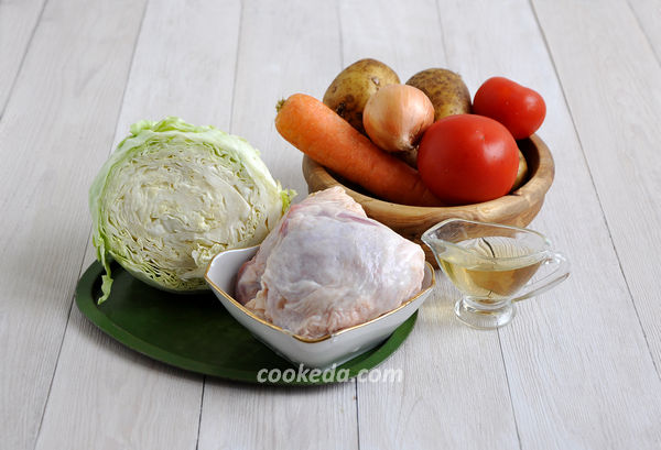 Щи из капусты с курицей - ингредиенты